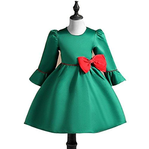 H.X Little Girls Half Sleeve Bowknot Holiday Wedding Evening Dresses (Green, 100(3 years))