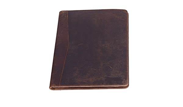 Vintage de piel auténtica cartera lujo Business marrón cartera portadocumentos de piel Personal organizador de archivos carpeta regalo para hombres mujeres: ...
