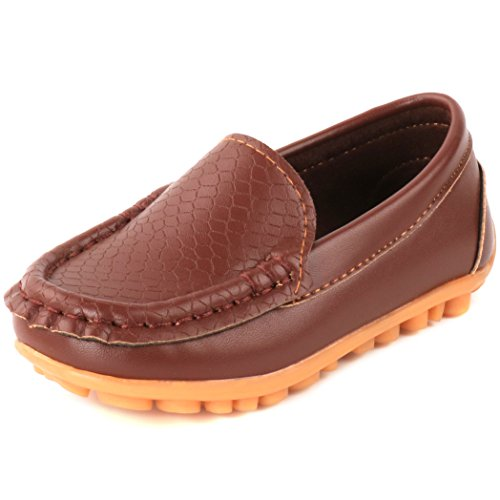 Femizee Toddler Boys Girls Loafers Shoes Casual Moccasin Slip On Dress Wedding Shoes for Kids,Brown,1301 CN 34
