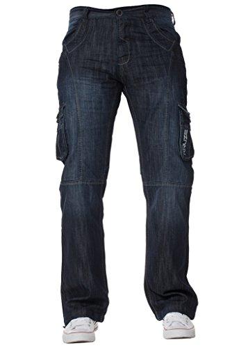 Tailles Délavé Pantalon Recouvert Hommes Cargo Jeans Kruze Foncé Noir Combat Pierre Lavage Grand wYqFxv8qf