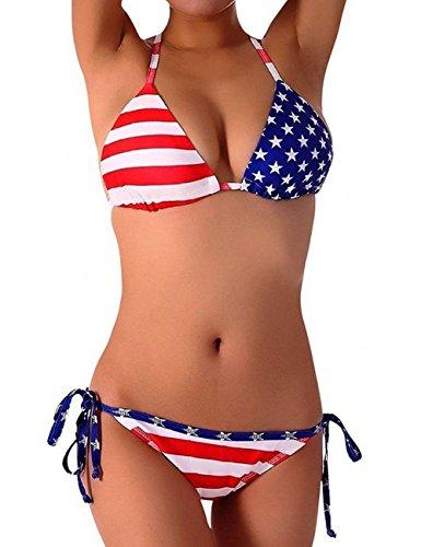 DNggAND Womens USA Flag Bikini Set July 4th Patriotic American Flag Swimsuit for Women FBA