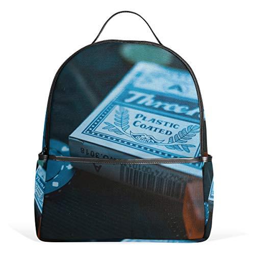 Backpack Playing Card Poker Chip School Bags Daypack Bookbag Shoulder Laptop Book Bag for Womens Mens Teens Boys Girls Kid's (Best Laptop For Poker 2019)