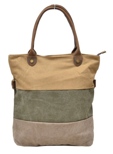 Gootium 31245CF Canvas Genuine Leder Deco Satchel