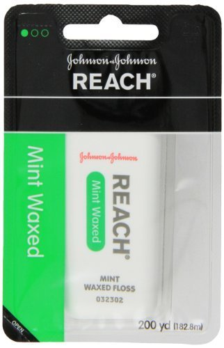 JOHNSON & JOHNSON REACH Mint Waxed Floss 200 YD - Buy Packs and SAVE (Pack of 3) -