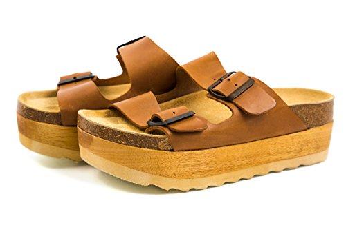 Jeffrey Campbell Damen Plateau Sandalen Pantoletten Holz Clogs Gr. 37 Braun