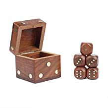 Rusticity Wooden Dice Set of 5 | Handmade | (2.5x2.5 in)