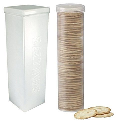 Home-X Set of 2 - Saltine Cracker Sleeve Storage Container / Cookie Stay Fresh Keeper, 1 Round and 1 ()