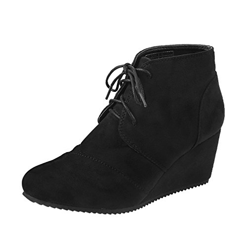 Short Lace Up Winter Boots (Black) - 9
