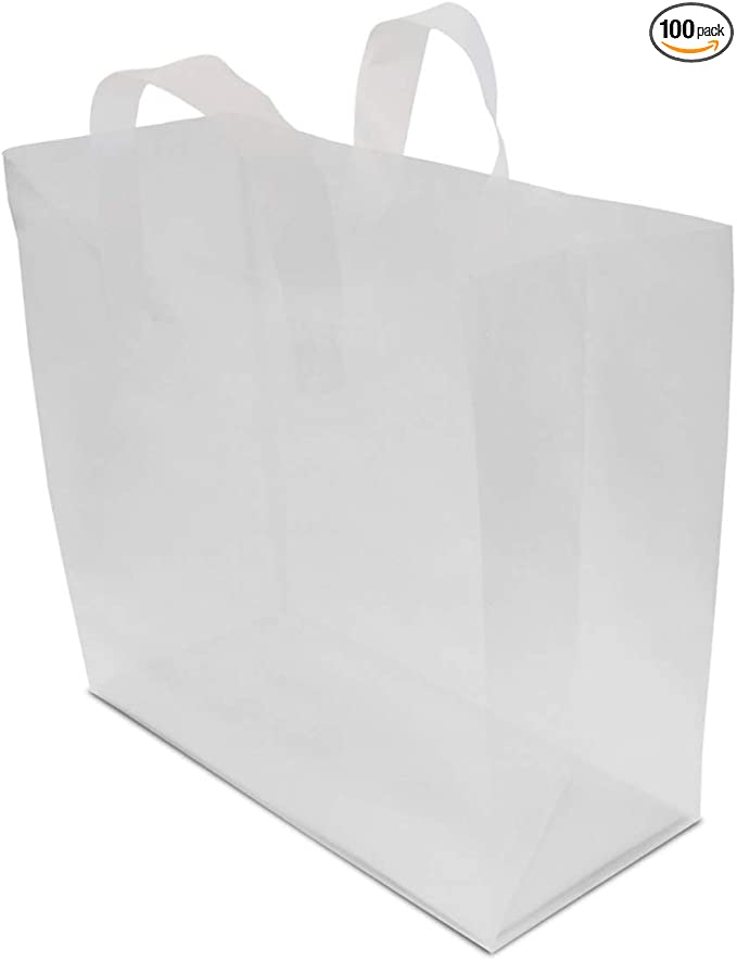 3 mil Clear Frosted Plastic Gift Bags 10-25 Packs Vogue 16x6x12