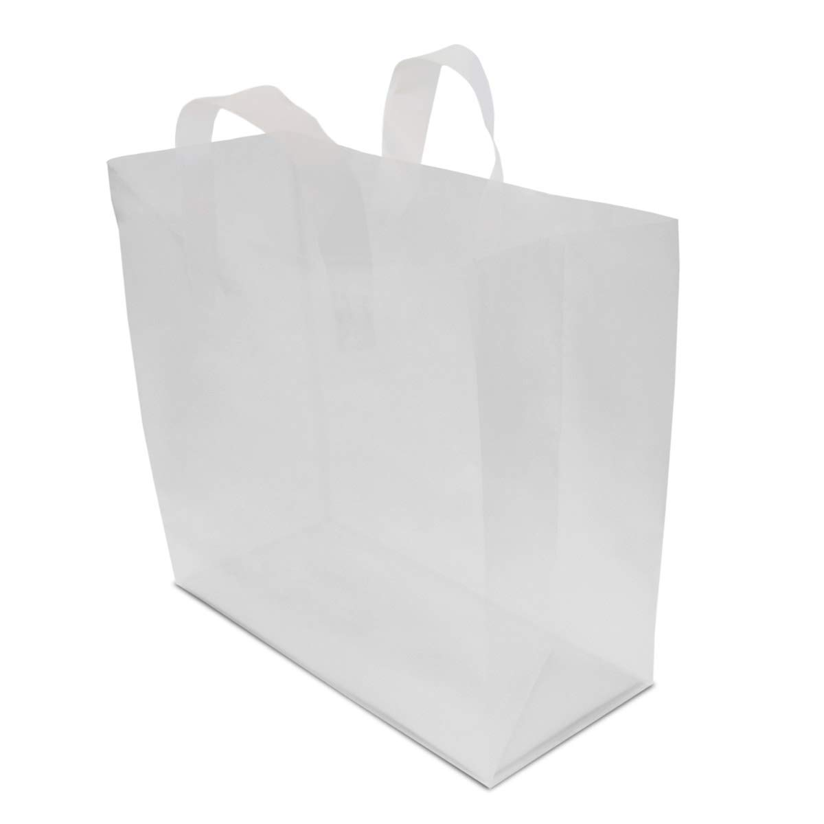 16x6x12'' 100 Pcs. Large Frosted Clear Plastic Gift Bags with Handles, Shopping Bags, Take Out Bags with Cardboard Bottom, Bags in Bulk