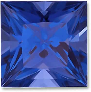 6x6mm Princess Cut Gem Quality Chatham Lab-Grown Blue Sapphire Weighs 1.28-1.56 Ct.
