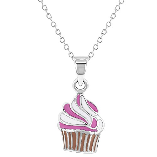 - 925 Sterling Silver Pink Enamel Cupcake Necklace Pendant for Girls 16