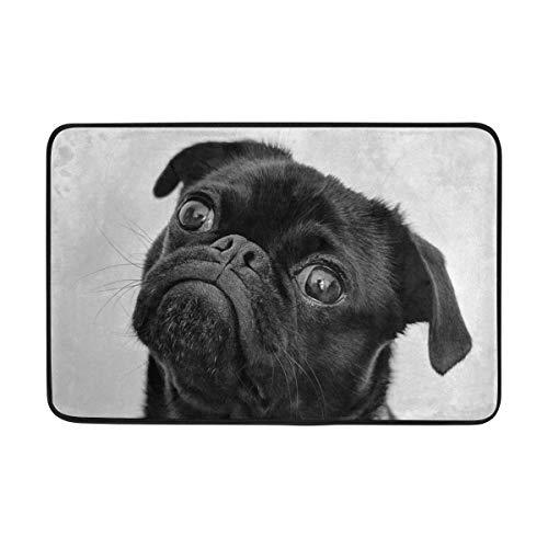 - Cute Black Pug Dog Bath Mat Non Slip Memory Foam Door Mat Bathroom Rugs Carpet for Inside Outdoor 15.7 x 23.6 in