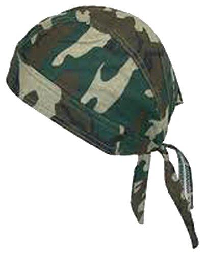 Camouflage Doo Rag Skull Cap with SWEATBAND Camo Bandana Head Wrap
