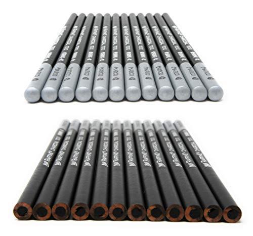 12pcs/Pack Artist Charcoal Pencils - Black Color Soft Medium Hard - White Pastel Color - Black Charcoal White Pastel Drawing Pencils (Hard)