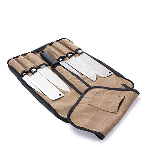 Chef's Knife Roll,Waxed Canvas Chef Knife Roll Up Bag,Professional Chef Knife Tools Storage Case,8 Pocket Waterproof Chef Knife Case Roll,Culinary Organizer Roll Case With Shoulder Straps Carry -