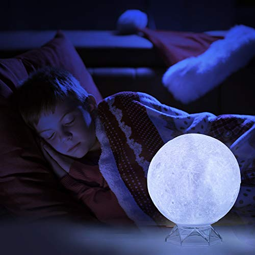 3D Moon Lamp - Lunar 4.72 Inch with Stand [16 Colors] LED Night Light - Globe Shape Charging Cable Remote Touch Bonus Wooden Stand
