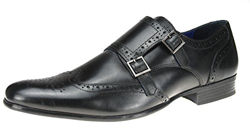 Mens Red Tape Tempo Leather Brogue double monk strap buckle formal shoes Black WabJ6Eou