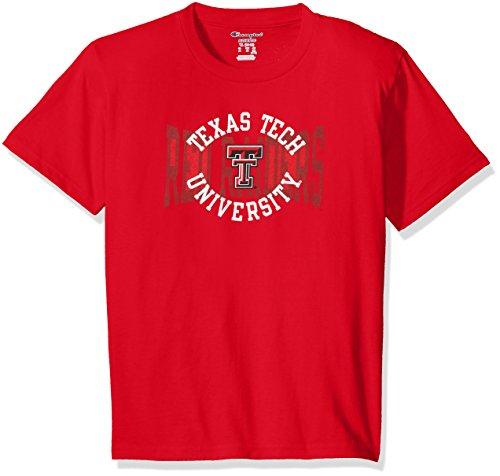 Champion NCAA Youth Boys Shirt 100% Cotton Tagless Tee, Texas Tech Red Raiders, - Boys Tee Tech Champion