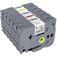 Brother Standard Laminated TZ TZe-231/TZe-431/TZe-531/TZe-631/TZe-731/Tze-931 Label Tape Equivalent to Brother P Touch TZ TZe Label Tape for PT-D210 6 Pack
