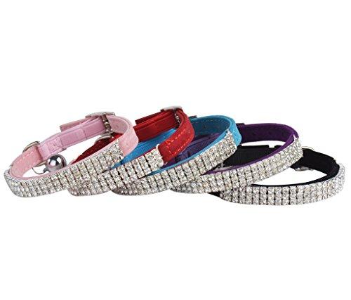 BINGPET-Adjustable-Cat-Collar-Soft-Velvet-Safe-Collars-Bling-Diamante-with-Bells