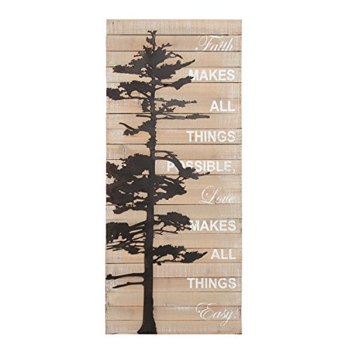 Kate and Laurel Faith Makes All Things Possible Rustic Wood Pallet with Metal Tree Wall Art Plaque by Kate and Laurel