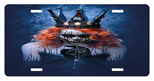 Ambesonne Queen License Plate, Queen of Death Scary Body Art Halloween Evil Face Bizarre Make up Zombie, High Gloss Aluminum Novelty Plate, 5.88