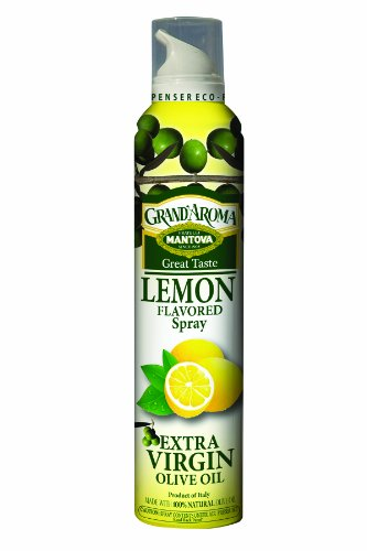 Mantova Extra Virgin Olive Oil Spray Lemon Flavored 8 oz. Spray Bottle - Manage Oil Amount - Great For Salads & Cooking