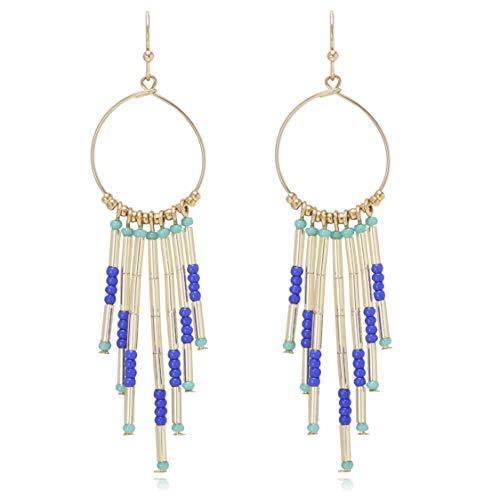 Boho Multicolor Bead Tassel Dangle Hoop Statement Earrings