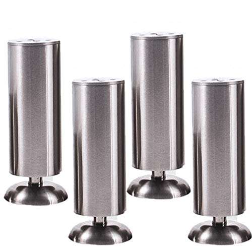 Furniture Legs, Stainless Steel Sofa Legs Furniture Feet for Worktop TV Desk Table Legs Table Adjustable, Pack of 4 (Silver+Black) (180mm, Silver) (Sofas Steel)
