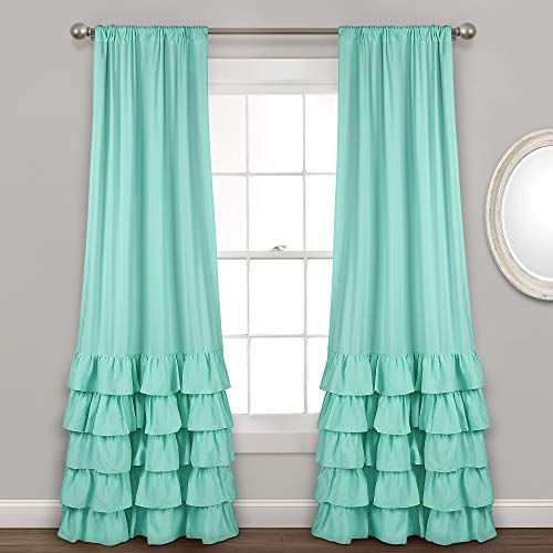 "Lush Decor Allison Ruffle Curtains Window Panel Drapes Set for Living, Dining Room, Bedroom (Pair), 84"" x 40"", Aqua"