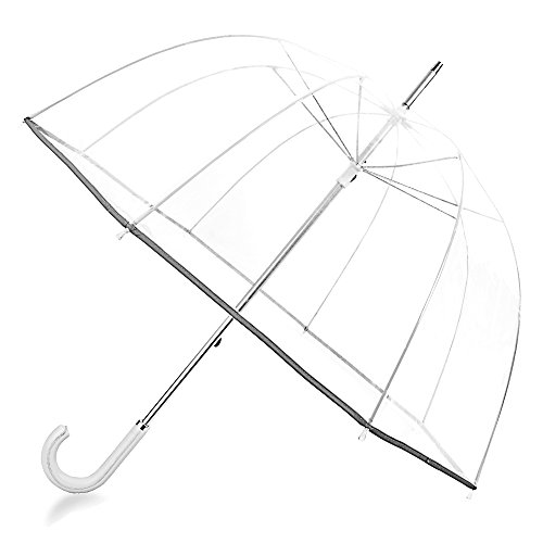 Kung Fu Smith 52 Inch Bubble Clear Umbrella for Weddings, Bulk Large Adult Windproof Dome Rain Umbrella ()