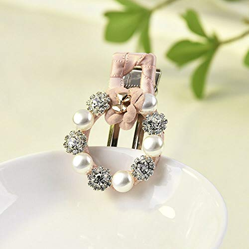 Chic Women Girls Round Pearl Crystal Flower Knot Hair Clip Hair Accessories Gift (Color - ()