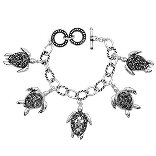 (Gypsy Jewels Theme Dangle Charms wih Hematite Color Rhinestones Silver Tone Toggle Bracelet (Sea Turtle))