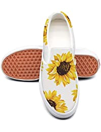Cute Sunflower Cat Dog Pattern Sneakers for Women Non Slip Skate Shoes Canvas Fashion Retro