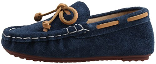 LIYZU Boy's Girl's Loafers Suede Slip-on Outdoor Casual Shoes(Toddler/Little Kid) US Size 10.5 Blue
