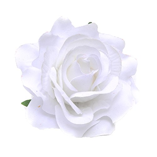 DreamLily Rose Flower Hair Clip Flamenco Dancer Pin up Flower Brooch BC10 (White) ()