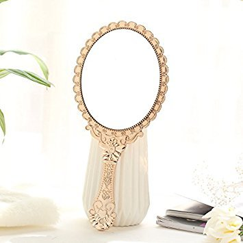Beauty Mirror Makeup Mirror Magnification Vanity Cosmetic Mirrors Shaving Mirror Hand Make-Up Mirror Beauty Handle Mirror Portable Retro Carved Mirror 11.5×25Cm,Rose Gold - Carved Bath Vanity