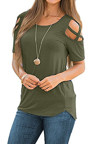 Womens Cold Shoulder Criss Cross T Shirts Cut Out