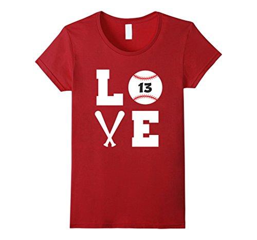 Love Player Baseball (Womens I Love Baseball Player Number #13 Shirt Medium Cranberry)