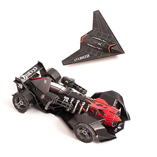 Zilipoo 3D Jigsaw Puzzles Pursuer Killer Battle Vehicle and Black Jet Model Kit for Teens and Adults 185 Pieces