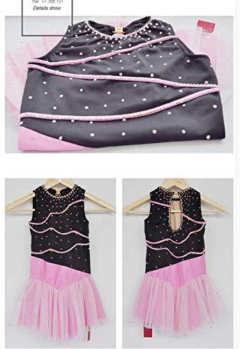 De Vestuario Cristales Negro Patinaje Rosa Vestido Hilo Artístico Niñas Hielo Heart Mangas Para amp;m Sobre Sin xwvzTFq