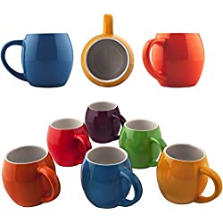 Primrose Colorful Mugs by Madero Kitchen - Set of 6 Ceramic Coffee Mugs Small Mouth 14oz - For Women and Men 100% Secure Packaging - Keep Liquid Hot for Longer