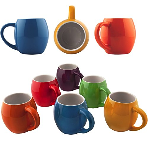 Primrose Colorful Mugs By Madero Kitchen   Set Of 6 Ceramic Coffee Mugs  Small Mouth 14oz   For Women And Men 100% Secure Packaging   Keep Liquid  Hot For ...