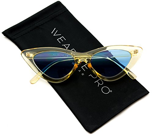 WearMe Pro - Retro Vintage Tinted Lens Cat Eye Sunglasses (Sunglasses Eye Cat)