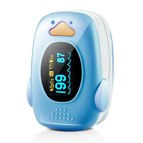Children Fingertip Pulse Oximeter Blood Oxygen Saturation Monitor for Baby Kids and Pediatric with OLED Screen and Batteries (Blue)