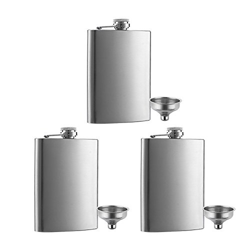3 Pcs 8 oz Hip Stainless Steel Flask & Funnel Set by QLL, Easy Pour Funnel is Included, Perfect Flask that Fits Great in Jacket Pockets and Pants (Stainless Flask Funnel)