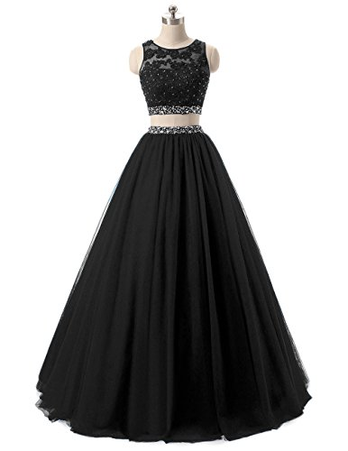 HEIMO Women's Long 2 Pieces Lace Sequined Evening Party Gowns Beaded Appliques Formal Prom Dresses H127 22W Black