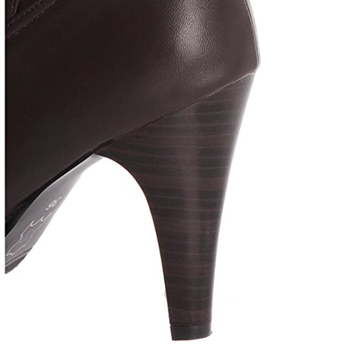 Aiyoumei Mujeres Slip-on Spike Heel Otoño Invierno Botas Altas Marrón