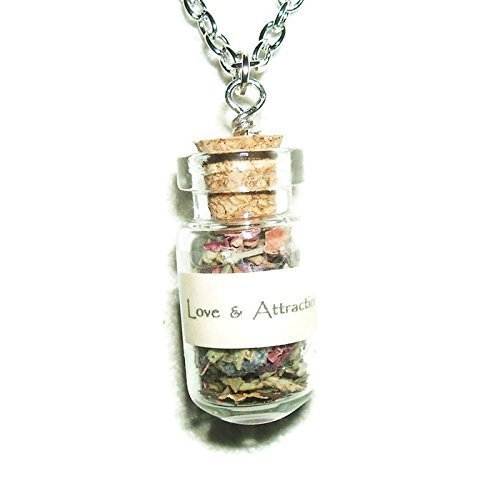 LOVE ATTRACTION Necklace ANCIENT SPIRIT HERBAL BOTANICALS Glass AMULET Metaphysical Spell Blessing